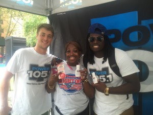 Power 105.1 team with the winner of the Palmer's Cocoa Butter.