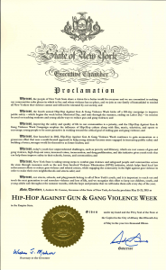 2015 Hip-Hop Against Gun & Gang Violence Week Proclamation from Gov. Cuomo
