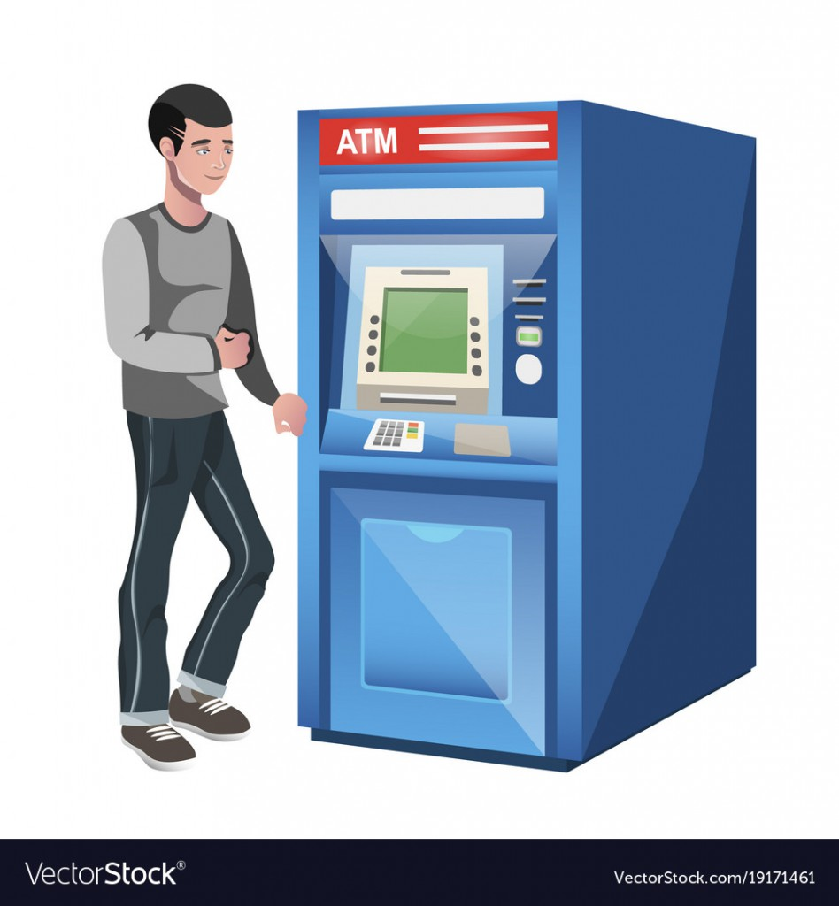 Man standing near atm machine. Flat style vector illustration